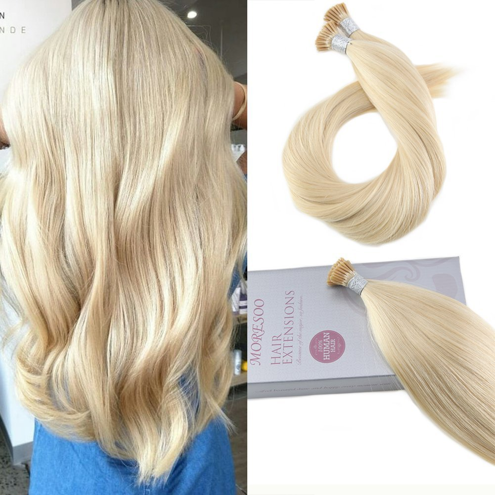 Moresoo 24 Inch I Tip Hair Extensions Remy Natural Human Hair 1 G/S 50 Grams Per Pack Platinum Blonde #60 Pre Bonded Hair Extensions Itip Hair Beads Brazilian Hair Straight Ltd