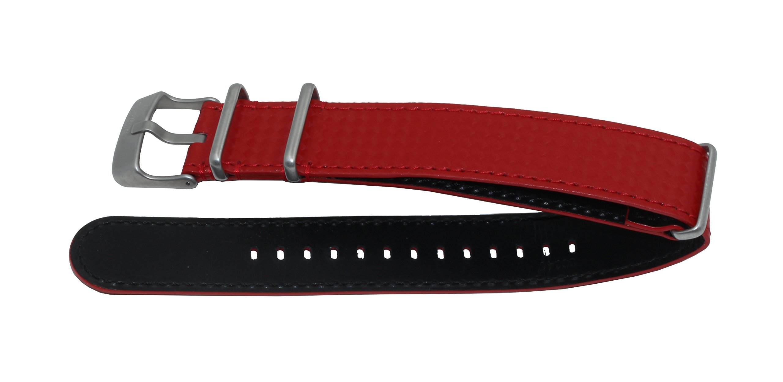 SWISS REIMAGINED Quality Genuine Leather NATO Replacement Carbon Watch Band Strap - Red by Swiss Reimagined (Image #3)