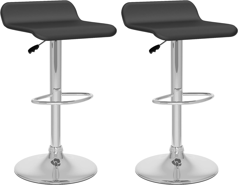 CorLiving Curved Adjustable Bar Stool, Black Leatherette, Set of 2