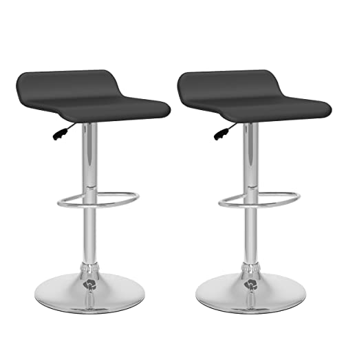 CorLiving Curved Adjustable Bar Stool, Black Leatherette, Set of 2
