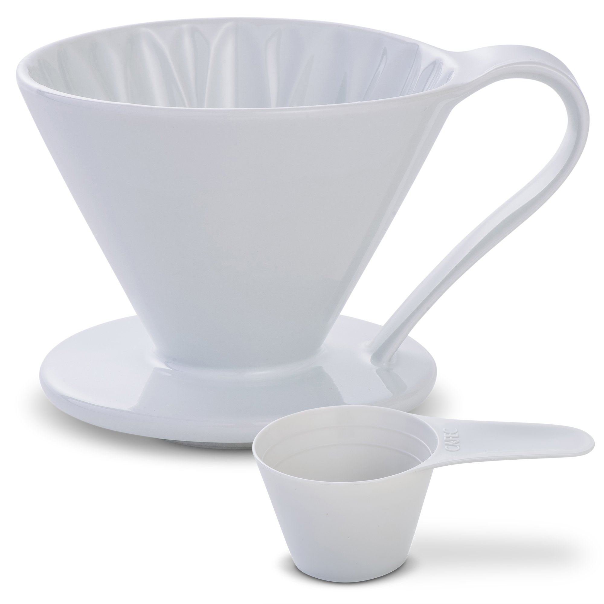 5 Beautiful COLORS: Pour Over Coffee Dripper by Sanyo Sangyo: Porcelain Ceramic 1-to-4 Cup Brewer | Unique Drip Coffee Maker For Fresh Filter Coffee-Elegant Smart Design: Better Brewing (White) by CAFEC