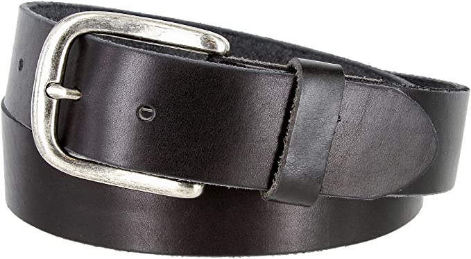 Mens Full Grain Leather Casual Jeans Belt 1-1//2 = 38mm wide BS40-P3926-BLK