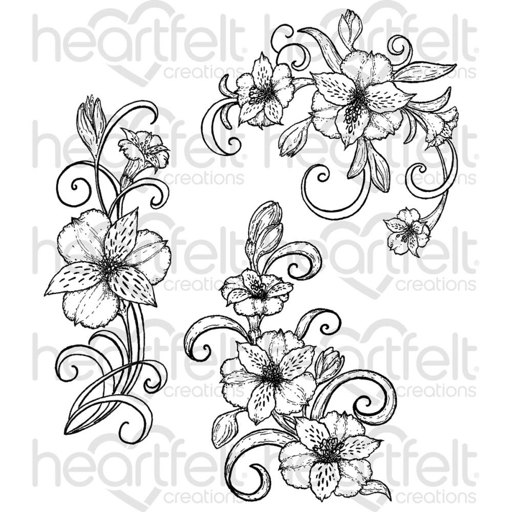 Heartfelt Creations Sunrise Lily - Sunrise Lily Swirls Stamps