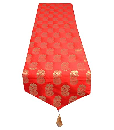 PINK PARROT Vireo-Designer Durable Dupian Silk Table Runner (Red, 13x17-inch)