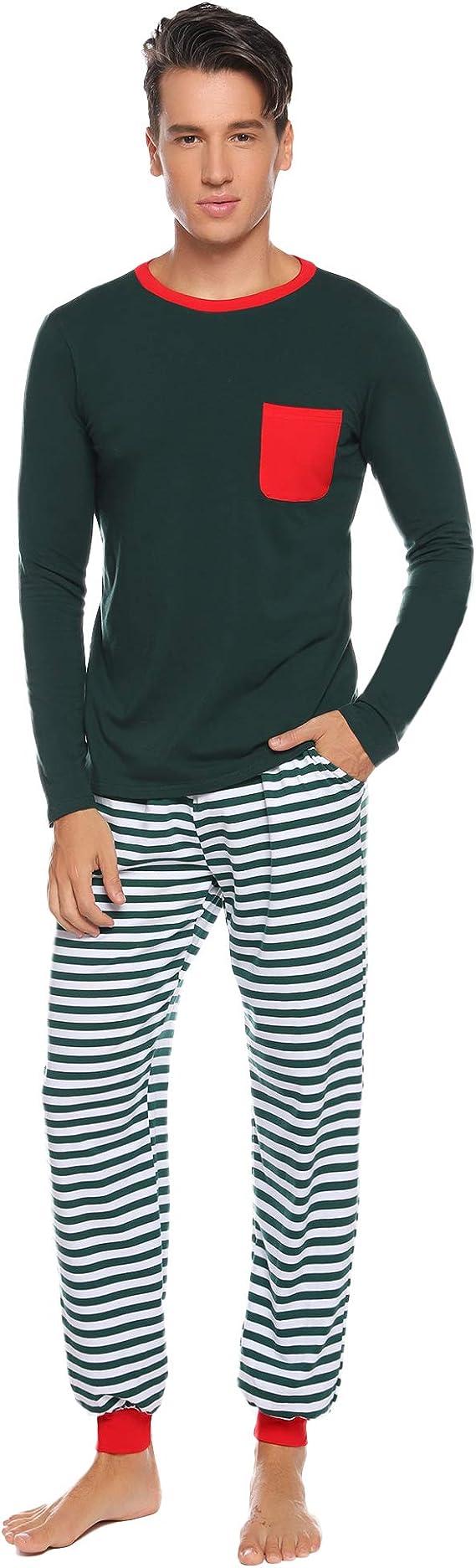 Aibrou Pijamas de Navidad Familia Conjunto Algod/ón,Raya Ropa de Dormir Casual Oto/ño Invierno Mujere Hombre Ni/ños