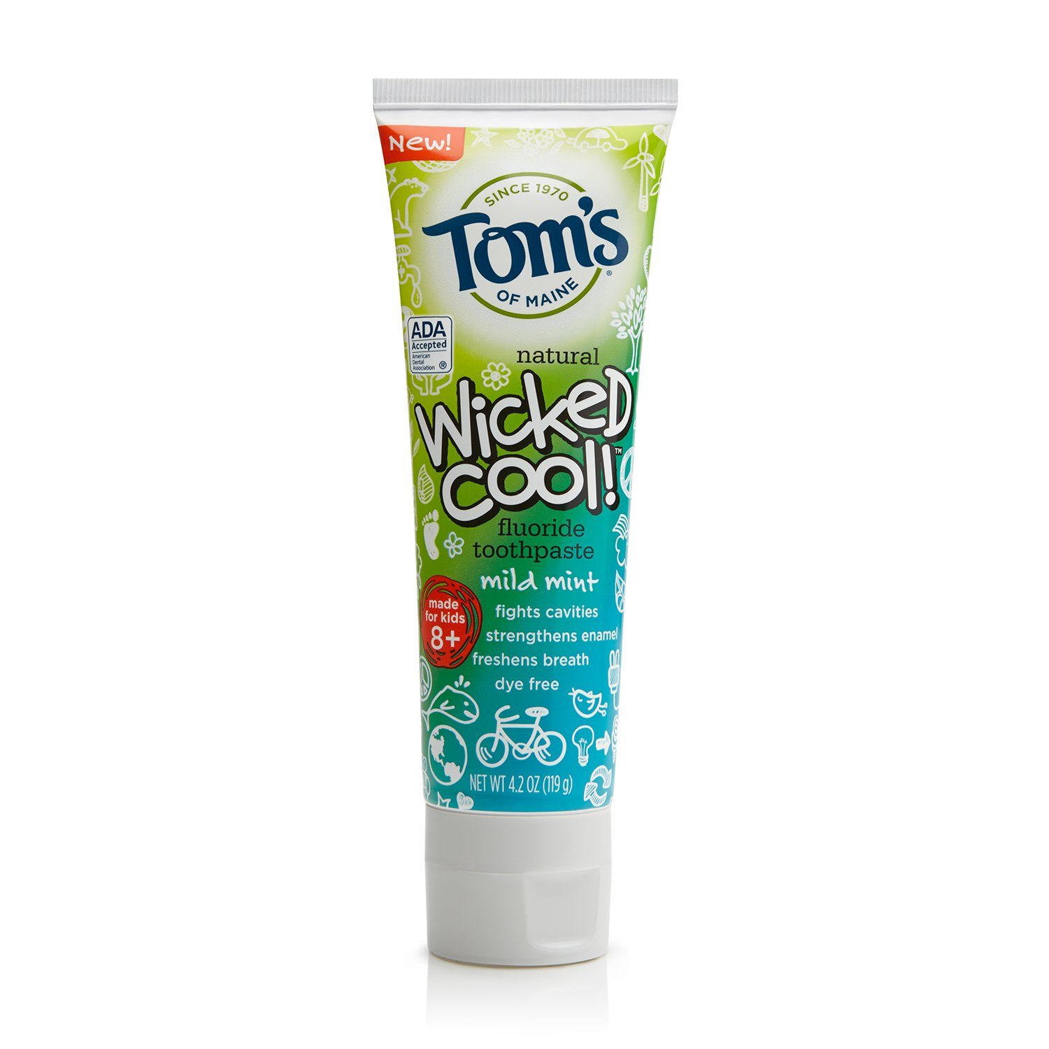 Tom's of Maine Natural Wicked Cool! Fluoride Toothpaste, Mild Mint, 4.2 Ounce, Pack of 24