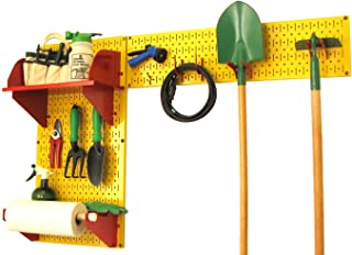 product image for Wall Control Pegboard Garden Supplies Storage and Organization Garden Tool Organizer Kit with Yellow Pegboard and Red Accessories