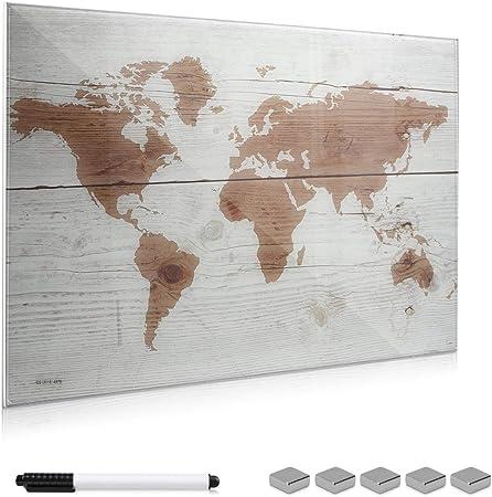 Navaris Pizarra magnética de Cristal - Tablero de Notas de Vidrio - Tablón magnético para tareas con imanes Soporte y diseño de mapamundi - Blanco: Amazon.es: Hogar