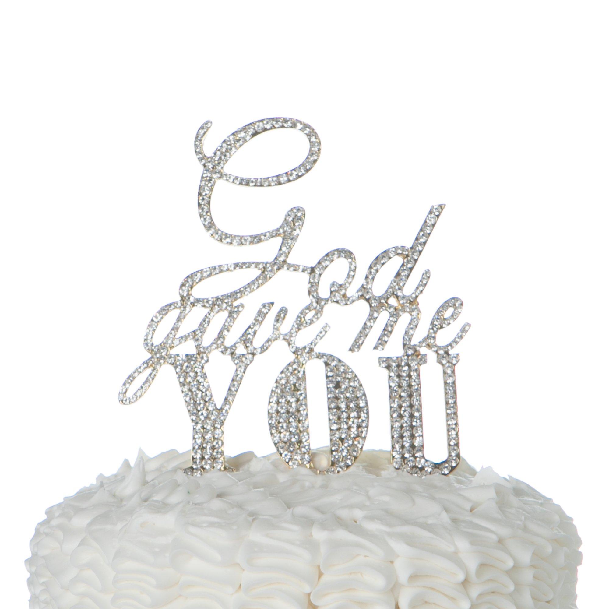 Ella Celebration God Gave Me You Cake Topper for Wedding or Anniversary, Gold Religious Christian Party Decoration by Ella Celebration