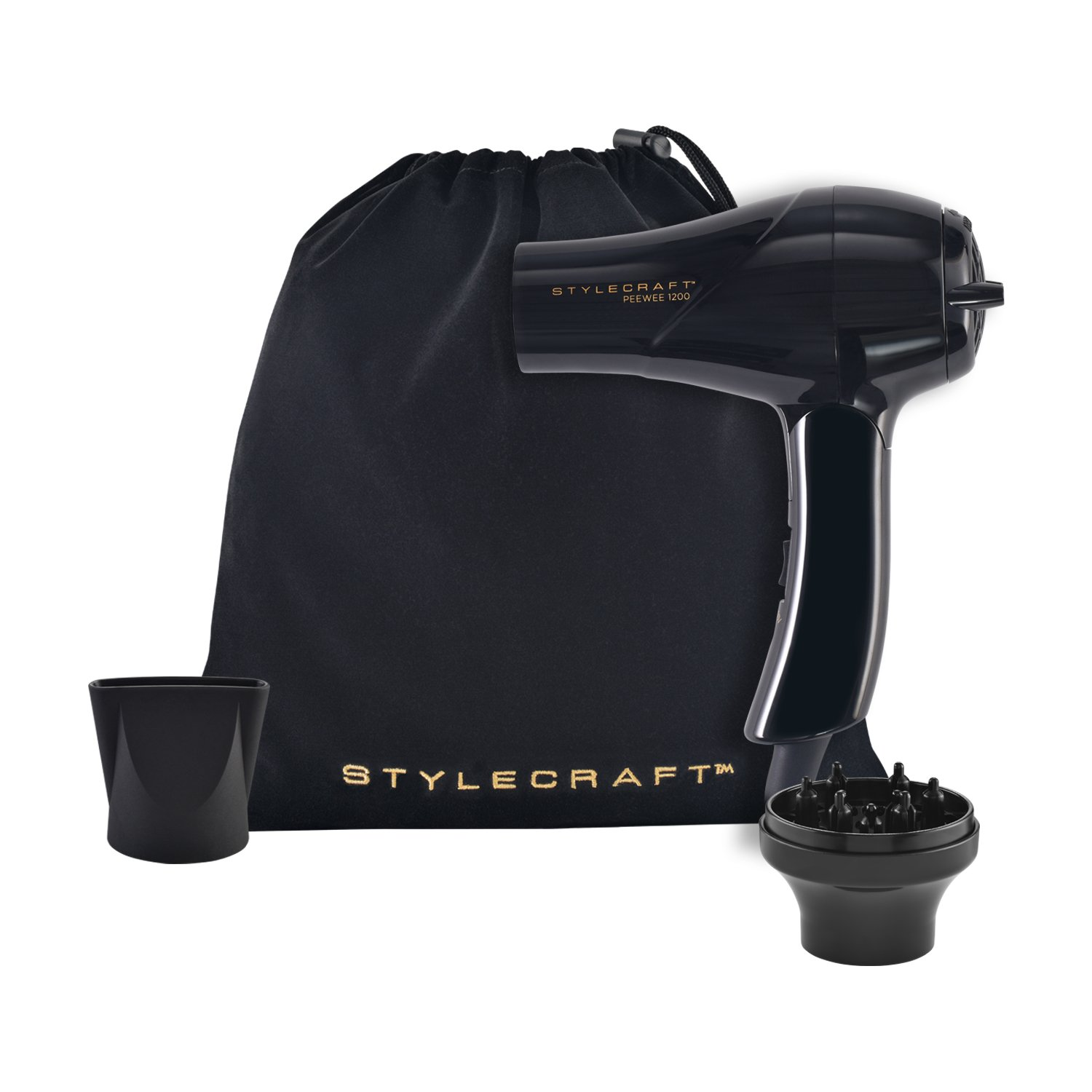 StyleCraft PeeWee 1200 Dual Voltage Folding Handle Travel Dryer | Includes: Travel Bag, Nozzle & Diffuser Black