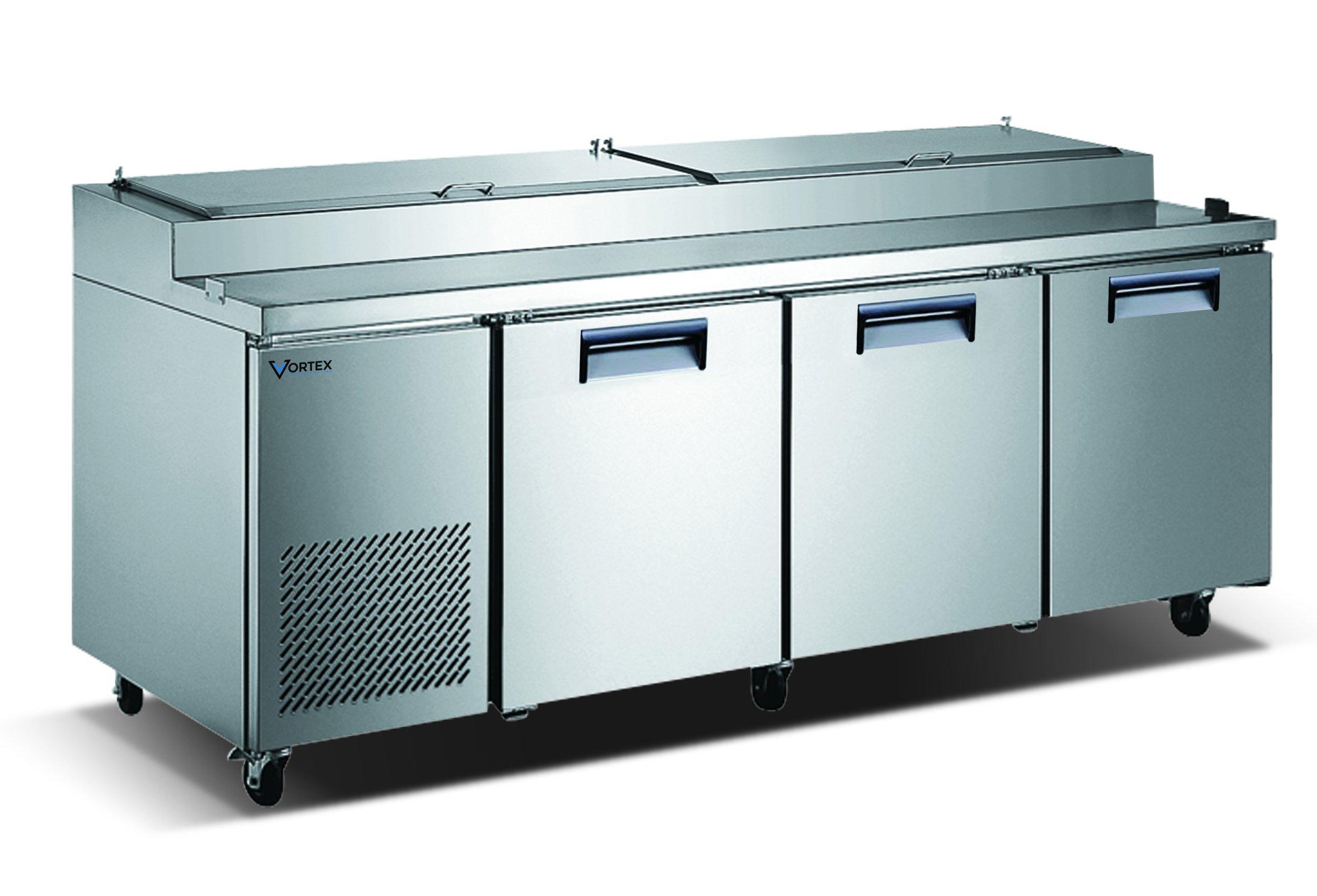 Vortex Refrigeration Commercial 3 Door, 93'' Pizza Prep Table - 24.2 Cu. Ft.