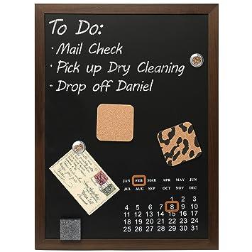 wall mounted wood framed magnetic blackboard chalk memo message board with calendar mygift