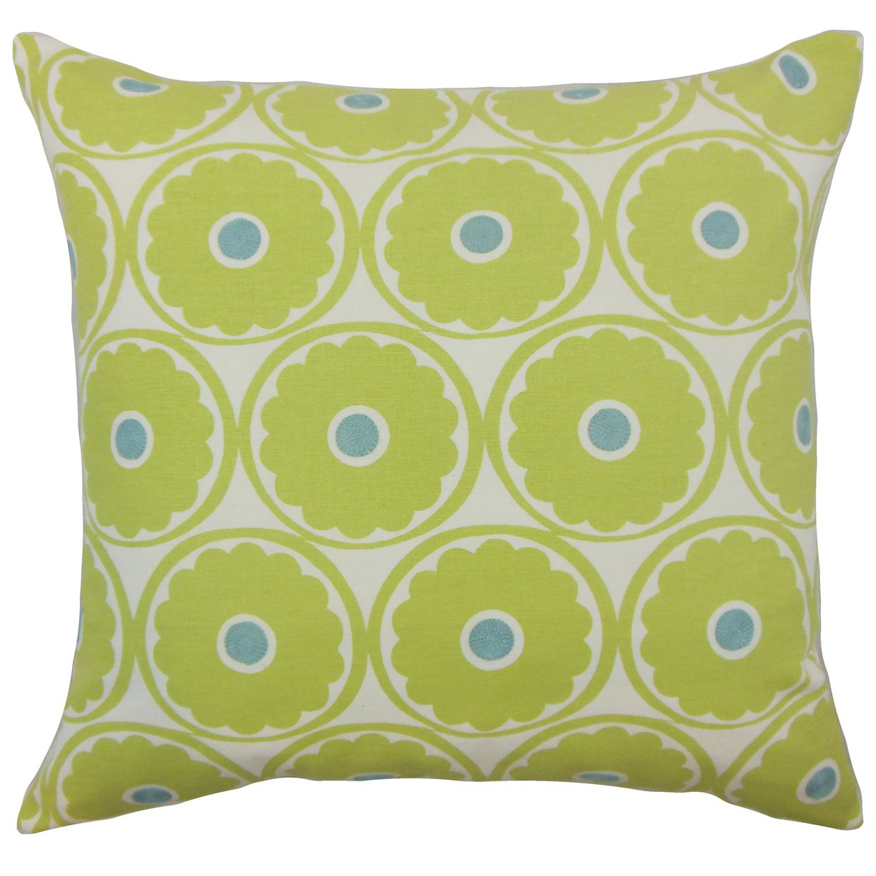 The Pillow Collection Day Floral Bedding Sham Lime Euro/26' x 26'