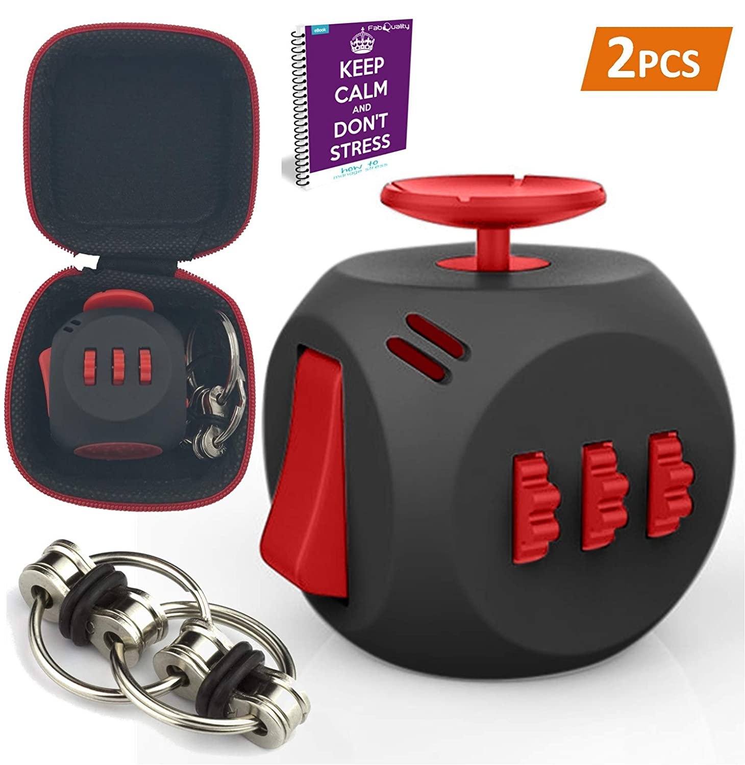 fabquality Fidget Toys + Steel Flipping Chain - Premium Quality Fidget Cube Ball with Exclusive Protective Case, Stress Relief Toy (Black & Red)