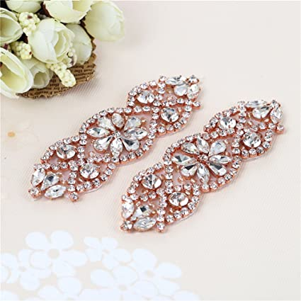 XINFANGXIU (2PCS) Rose Gold Crystal Applique 904d406dd141