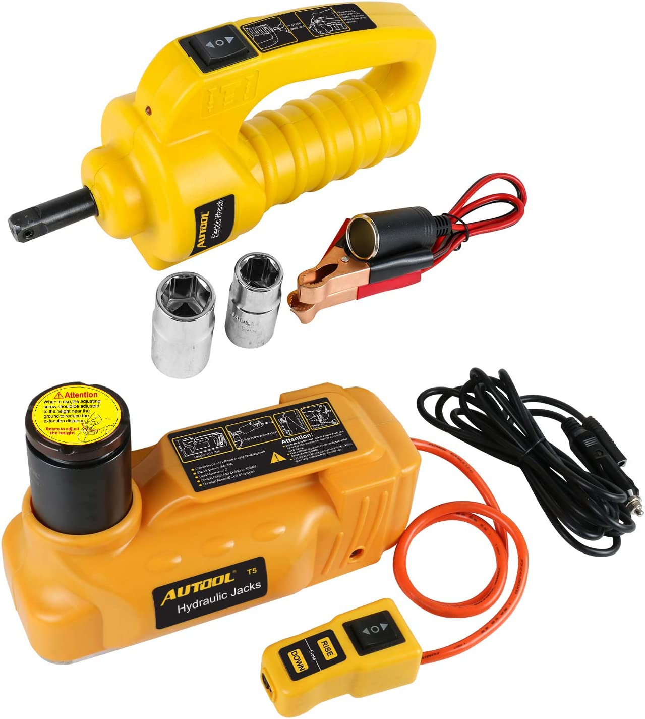11023LB 12V 5T Hydraulic Electric Hydraulic Floor Jack Portable Vehicle Jacks,Auto Floor Jacks Car Tire /& Wheel Repair Replace Tools Auto Road Emergency Tool AUTOOL 5T
