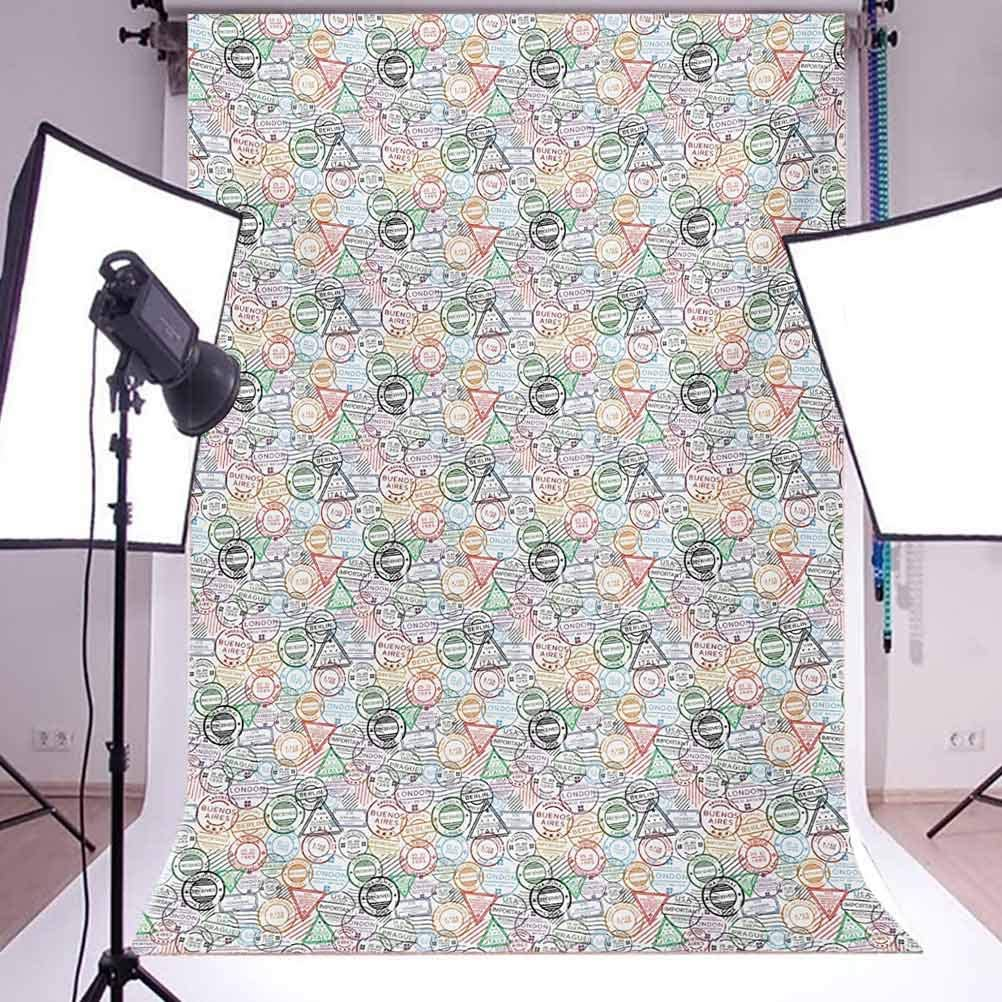Colorful 10x15 FT Photo Backdrops,Retro Postal Pattern Different Countries Traveling Tourism Elements Collection Background for Child Baby Shower Photo Vinyl Studio Prop Photobooth Photoshoot