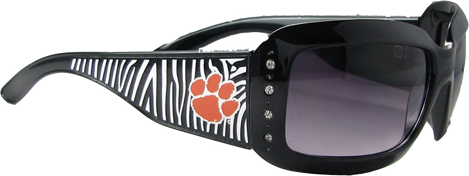 Sports Accessory Store Clemson Tigers CU Black Orange and Zebra Print Clear Crystals NCAA Licensed Womens Sunglasses S4ZB