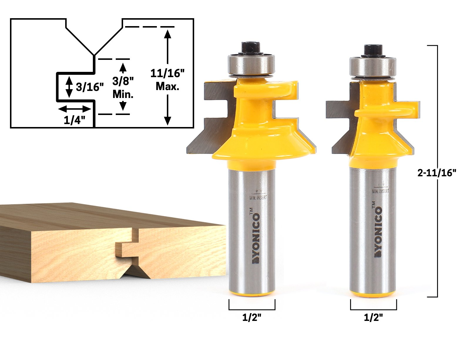 Yonico 15229 Flooring 2 Bit Tongue and Groove Flooring Router Bit Set 1/2-Inch Shank by Yonico