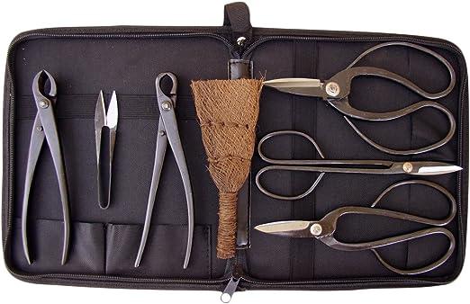Genki-Bonsai - Set de herramientas para cuidado de bonsais (6 herramientas en estuche), color negro: Amazon.es: Jardín