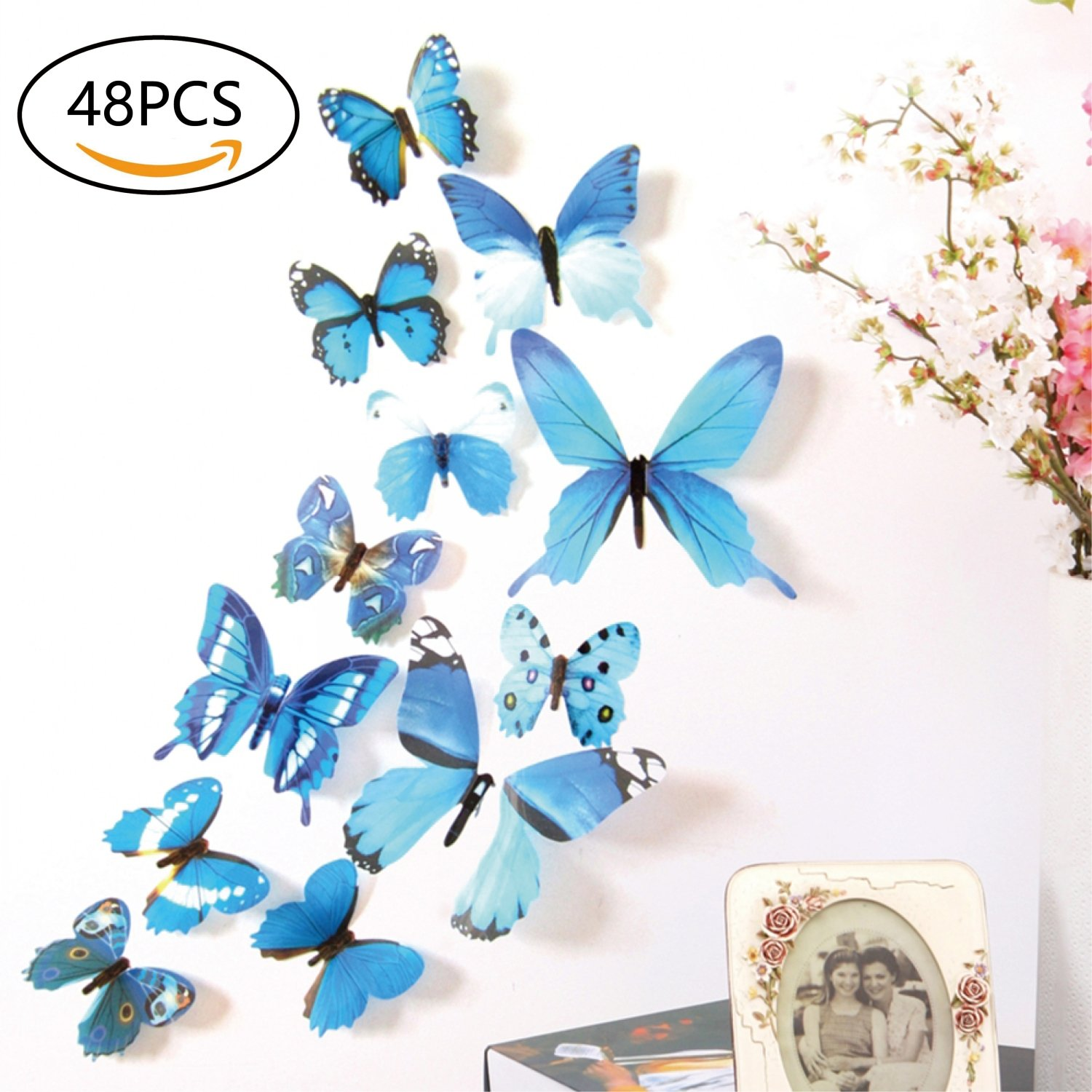 Amazon.com: FIXBODY 3D Butterfly Wall Stickers Decals - 48 PCS 3D ...