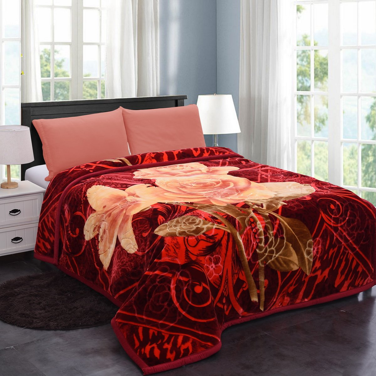 Jml Heavy Thick Plush Velvet Korean Style Mink Blanket, Two Ply Reversible Raschel Blanket with One Side Embossed, King, Red