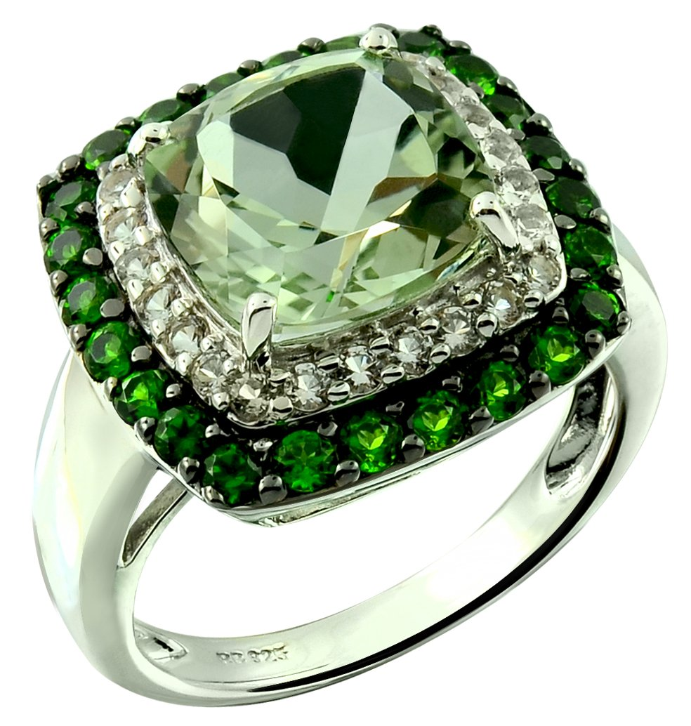 5.37 Carats Green Amethyst with Chrome Diopside Rhodium-Plated Sterling Silver Statement Ring (9) by RB Gems