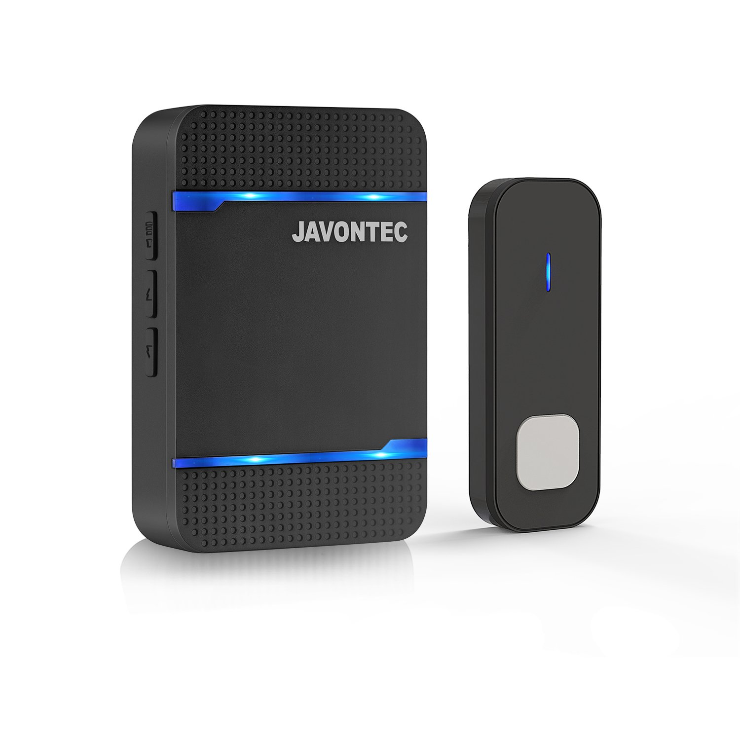 JAVONTEC Wireless Doorbell with LED Indicator Waterproof IP55 1000ft Long Range with 55 Ringtones and 5 Volume Levels 1 Plug in Receiver 1 Remote Button Black