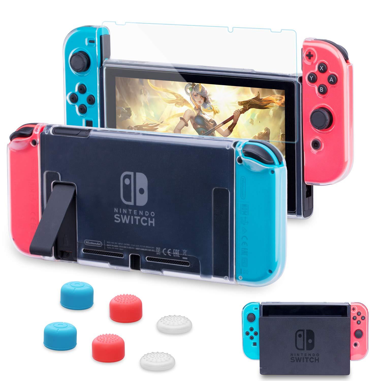 HEYSTOP Carcasa Nintendo Switch, Funda Nintendo Switch con Protector de Pantalla para Nintendo Switch Console y Joy Cons con 6 Agarres para el Pulgar
