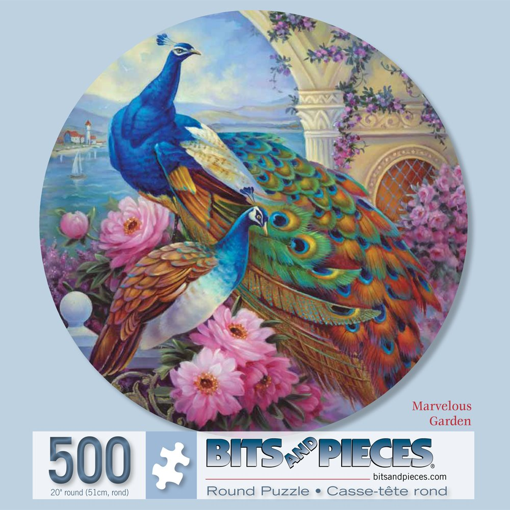 Bits and Pieces - 500 Piece Round Jigsaw Puzzle for Adults - Marvelous Garden - 500 pc Beautiful Peacocks Round Jigsaw by Artist Oleg Gavrilov