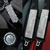Valleycomfy Microfiber Leather Seat Belt Shoulder Pads with Bling Rhinestones Car Bling Seat Belt Covers for Women, Crystal H