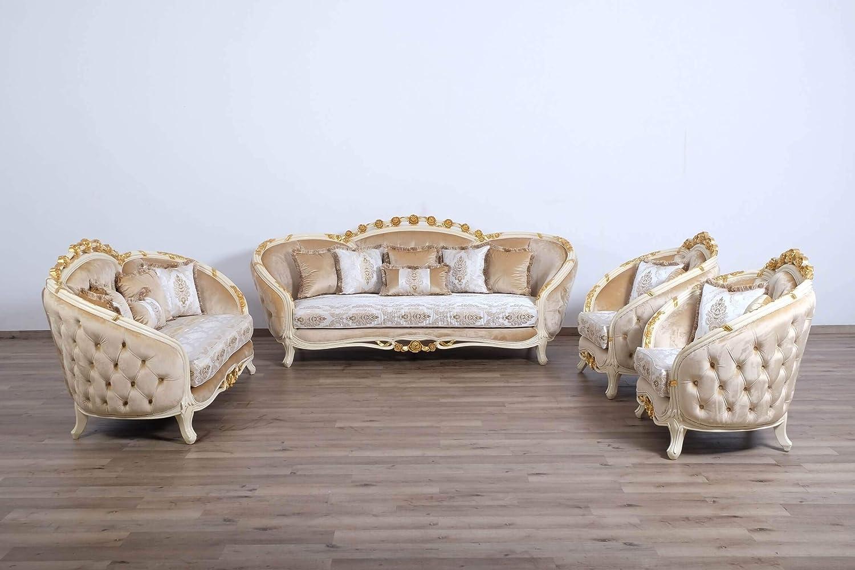 European Furniture 3 Piece Valentine II Wood Trim Sofa Set