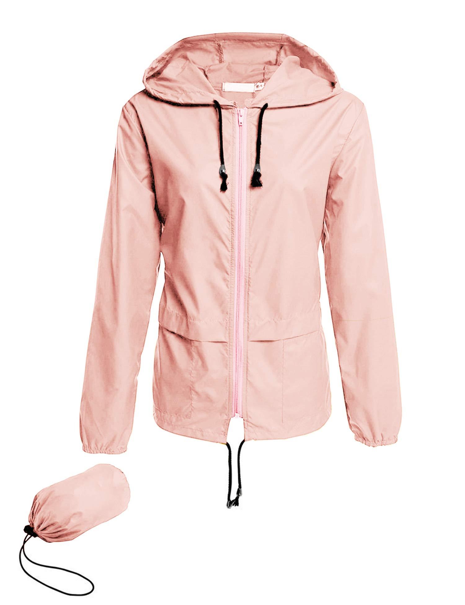 Avoogue Raincoat Women Lightweight Waterproof Fishing Rain Jackets Packable Outdoor Hooded Windbreaker (Pink XL) by Avoogue