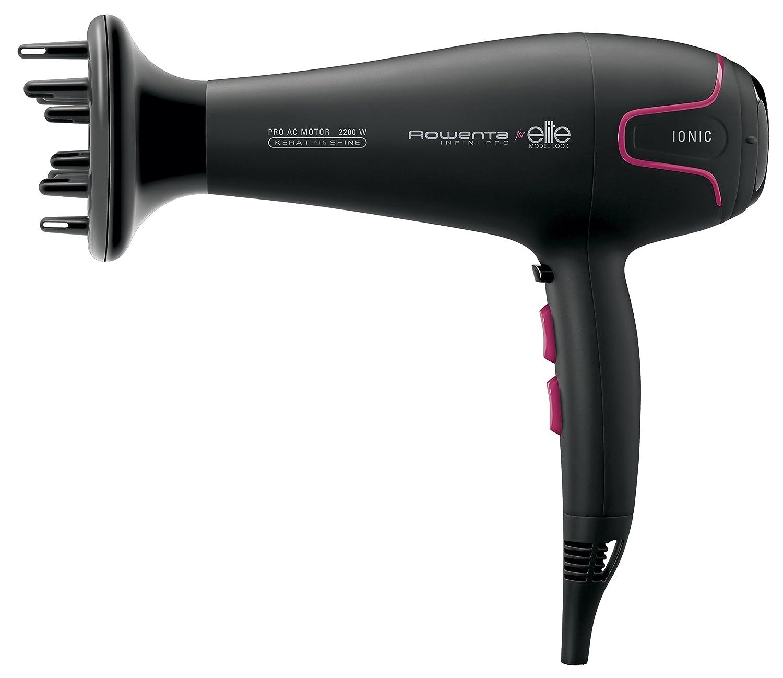 Rowenta Infini Pro Elite CV8732 Negro 2200 W - Secador de pelo (Keratin & Shine, Corriente alterna, Negro, Con agujero en la empuñadura para colgar, 1,8 m, ...