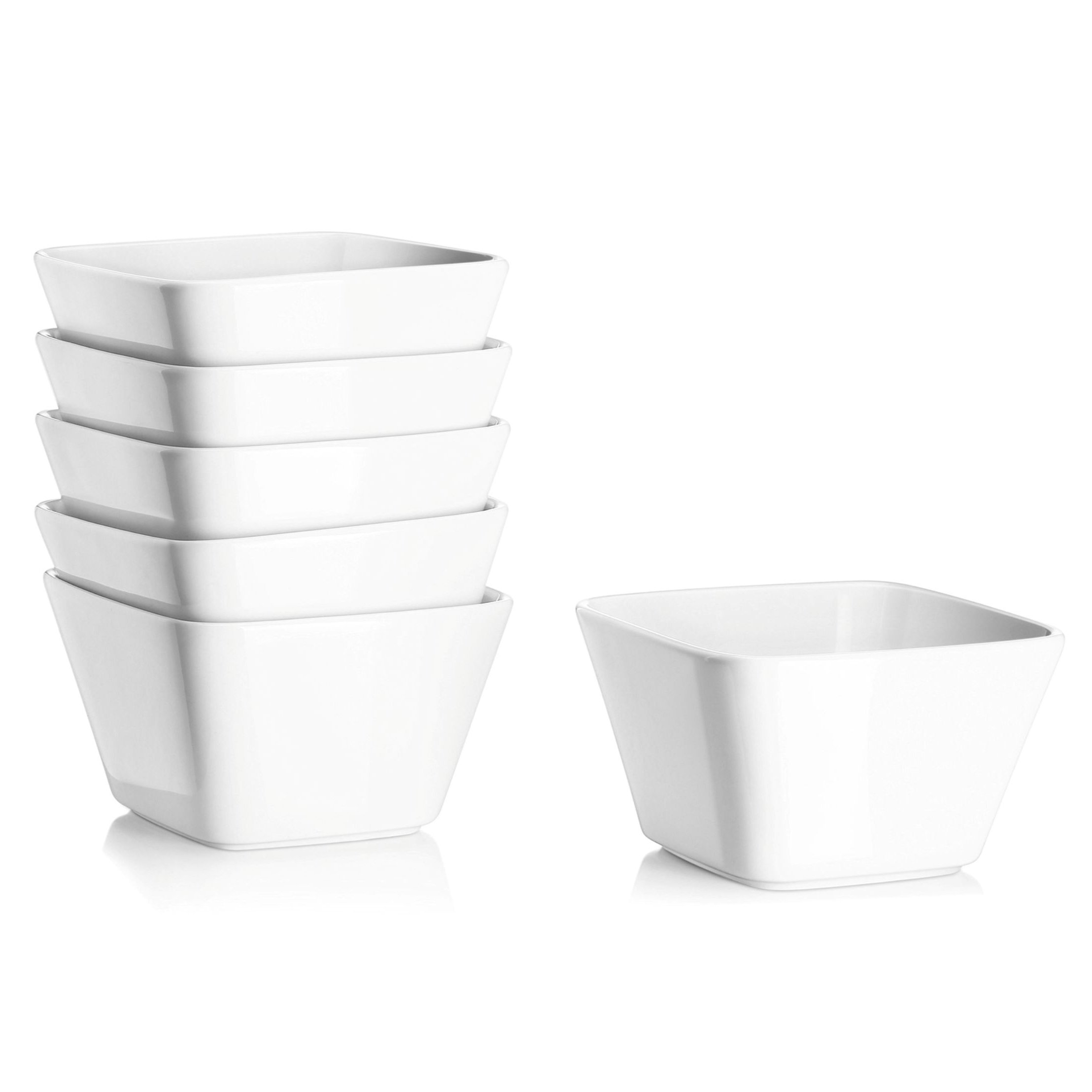 DOWAN 20 Ounce Porcelain Square Cereal Bowls - 6 Packs ,White