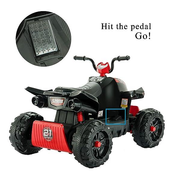 Uenjoy 12V Kids ATV 4 Wheeler Ride On Quad Battery Powered Electric ATV for  Kids, 2 Speeds, Wheels Suspension, LED Lights, Music, Red