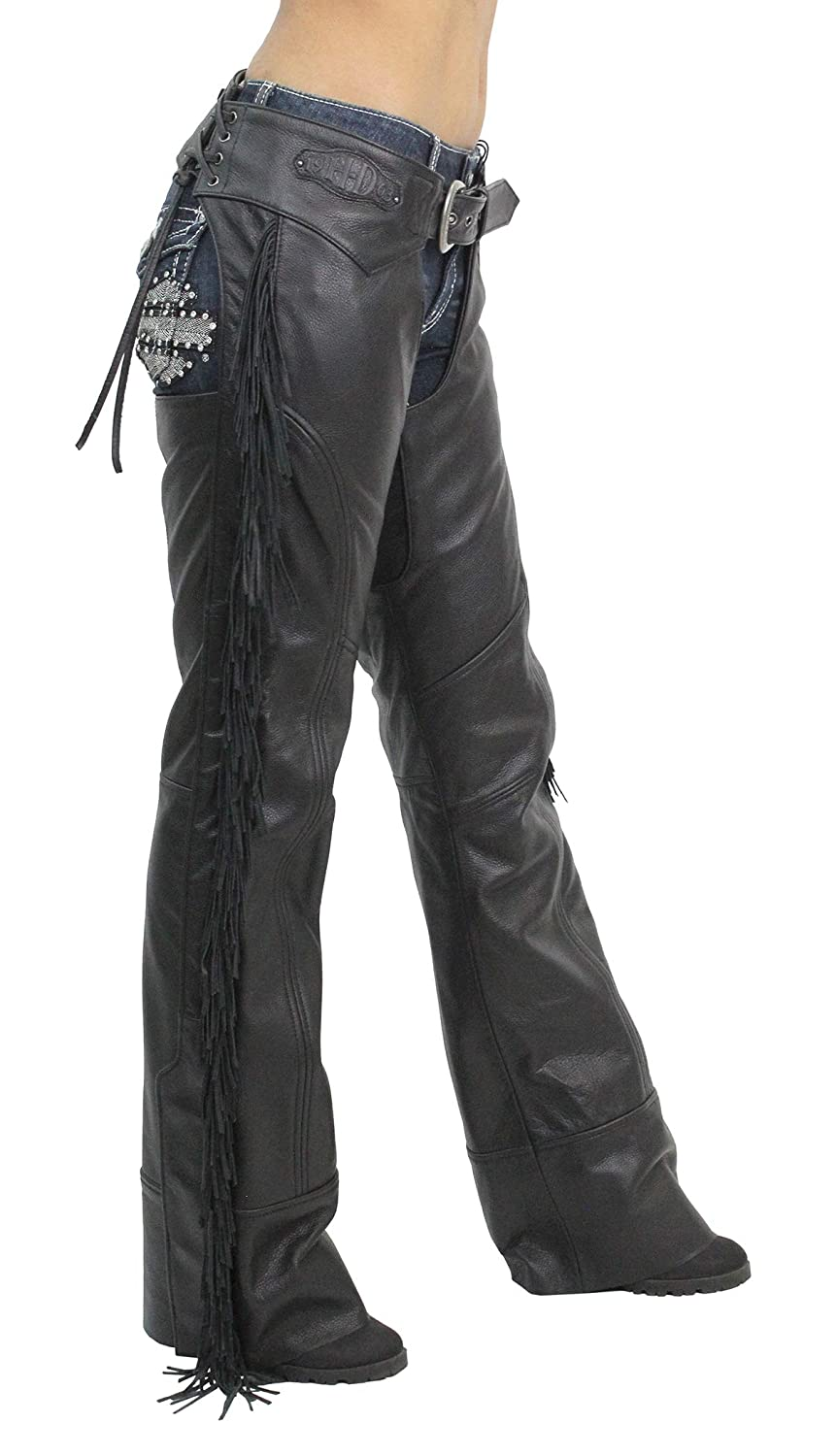 Harley-Davidson Womens Boone Fringed Winged B/&S Patch Chaps98012-18VW Large Tall