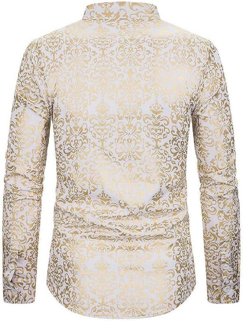 SELX Men Stand Collar Business Button Up Long Sleeve Printing Dress Shirt Top
