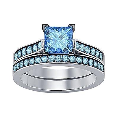 Amazon Com Women S Jewelry 2 75 Ct Princess Cut Created Blue Topaz