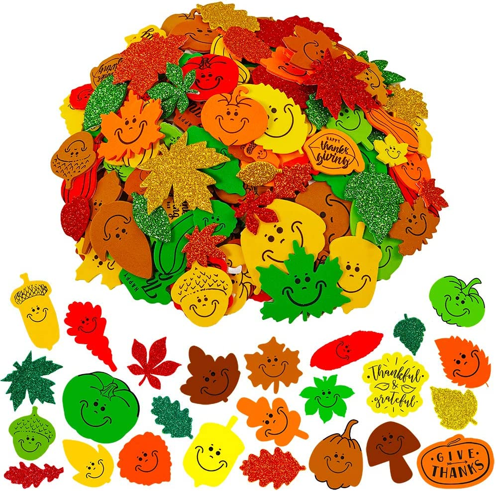 "708 Pcs Bulk Foam Fall Leaves Shape Stickers Self Adhesive Smile Face Autumn Maple Oak Leaves Glitter Leaves Stickers 1"" 1.5"" 2"" Embellishments for Kids Craft Halloween Thanksgiving Decoration"