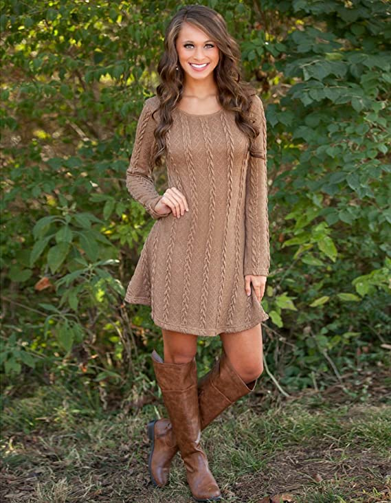 Mansy Knitted Crew Neck Sweater Dress | Long sleeve Sweater Dresses | Tunic sweater Dresses for Women
