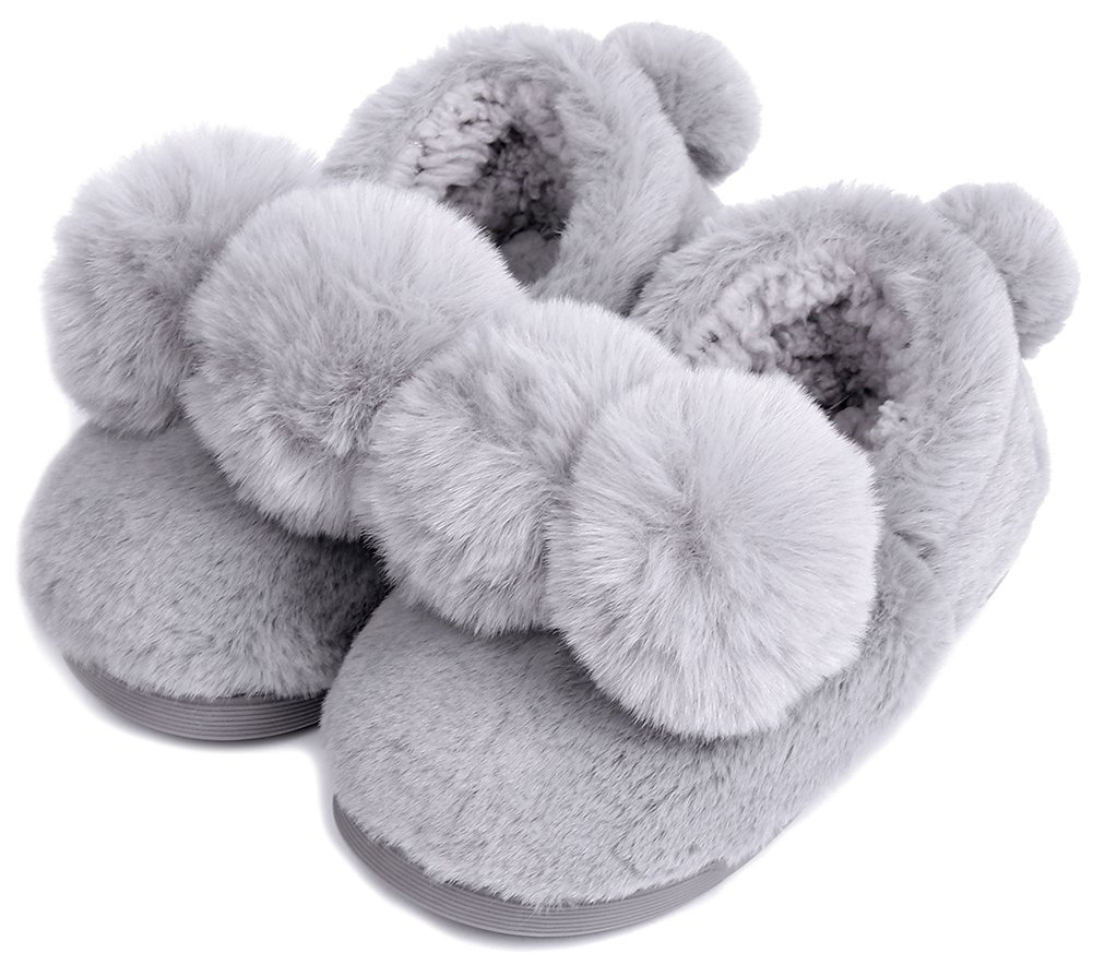 UIESUN Unisex Cute Ball Toddler Shoes Slippers Boy Girl Winter Soft Bedroom Indoor House Grey-18/19