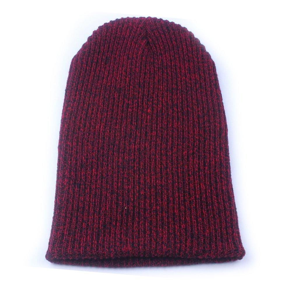 48ed8cf4e68 OULII Slouchy Beanie Caps Men Knitted Winter Warm Ski Hat Hip-Pop Hats  (Dark Red) at Amazon Men s Clothing store