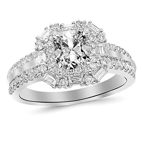 1.2 Cttw 14K White Gold Cushion Cut Double Row Baguette and Round Halo Diamond Engagement Ring with a 0.5 Carat I-J Color I1 Clarity Center