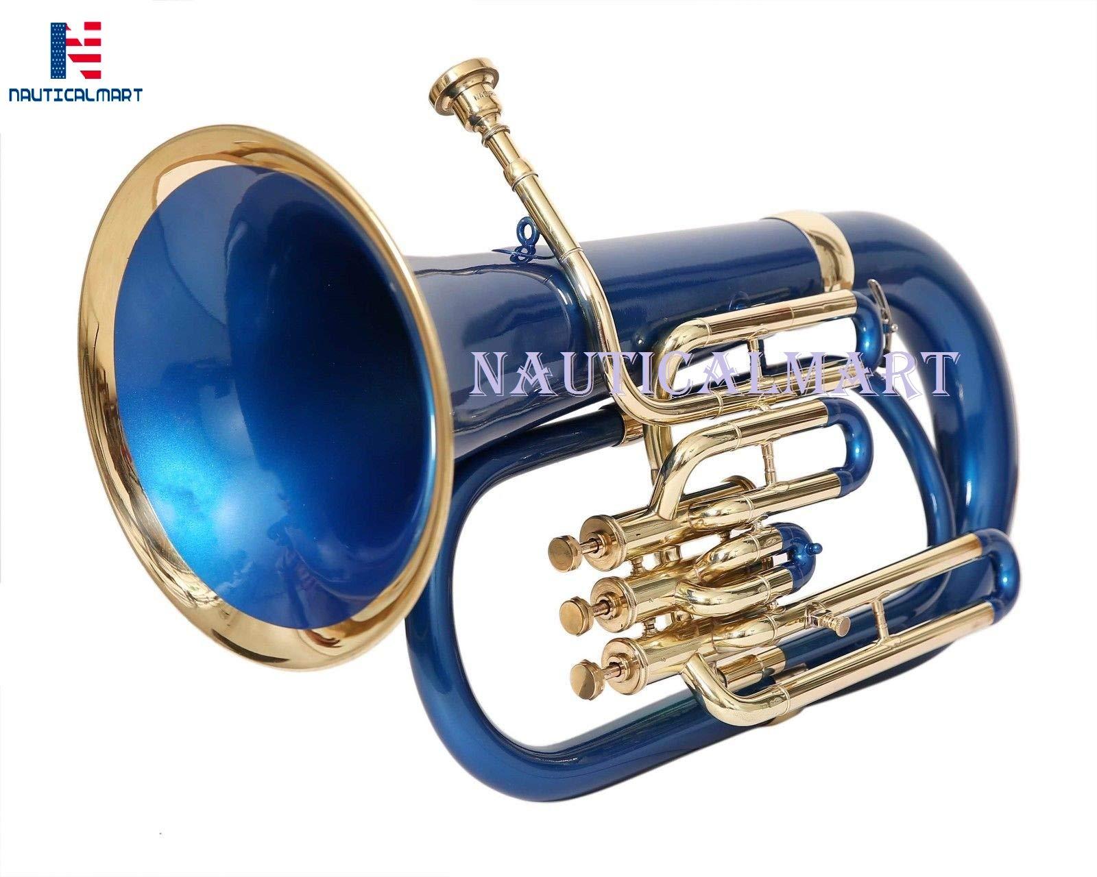 NauticalMart Brass Bb Euphonium 3 Valve - Blue