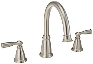 Moen Roman Tub Faucet Brushed Nickel. Moen 86924SRN Deck Mounted Roman Tub Faucet Trim from the Banbury  Collection Spot Resist Brushed