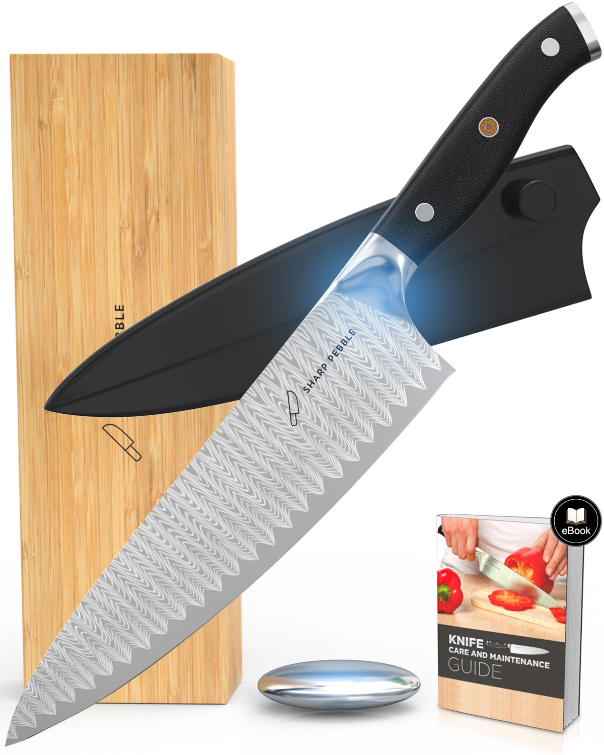 Sharp Pebble Chefs Knife 8 Inch | Professional Japanese Damascus Knife VG10 Stainless Steel | Sheath, Bamboo Box, Odor Removal Soap & Care eBook