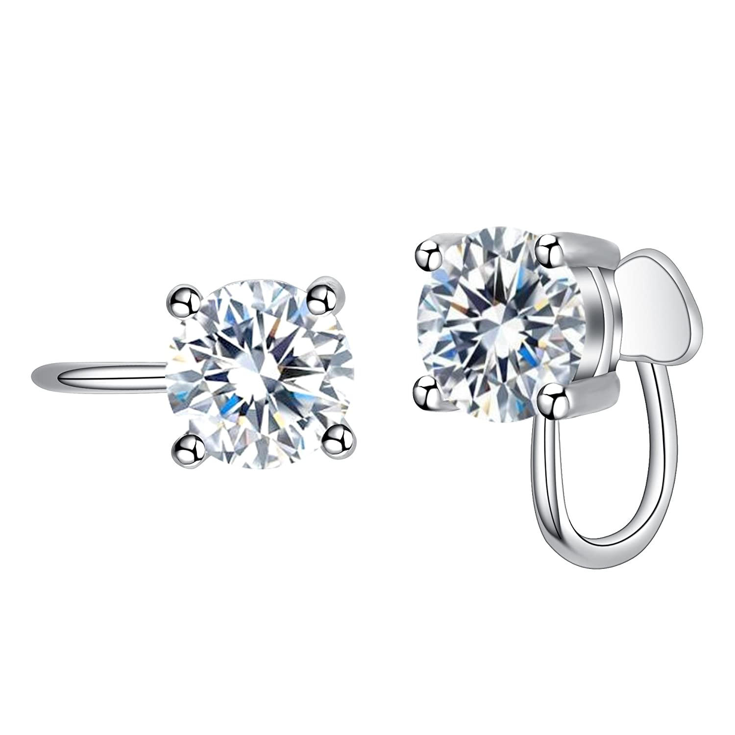 EVER FAITH 925 Sterling Silver Round Cut CZ Prong Setting Gorgeous Leverback Dangle Earrings Clear N09935-1