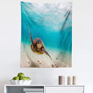 """Lunarable Hawaiian Tapestry, Underwater Scuba Diving Sea Turtle Nature Animal Swimming Wildlife Theme, Fabric Wall Hanging Decor for Bedroom Living Room Dorm, 23"""" X 28"""", Beige Brown"""
