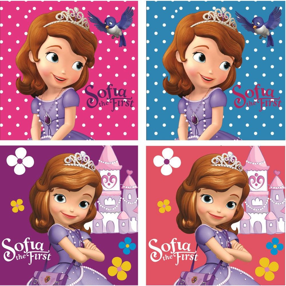 Disney Sofia The First–: 4Set gaestetuech/Hand tuech/viso tuech/seiftuech//Lavette da bagno 30x 30cm, JAvoli
